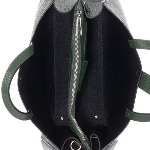Laura Moretti - Borsa in vera pelle e nappa con borchie e chiusura a cintura (piccole dimensioni) Verde