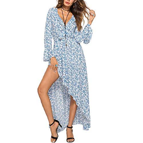 Ann Taylor Kleider (XIGUAK Frauen V-Ausschnitt Print Floral Beach Party Kleider Sommer hohe Taille Schlitz Sexy Rüschen Flare Ärmel langes Kleid)