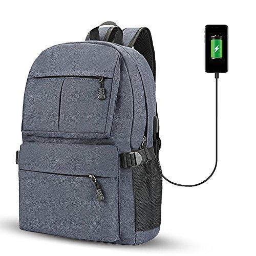 Fastar zaino per computer portatile con porta USB di ricarica, unisex grande capacità College zaini scuola computer zaino per uomini e donne, Blue