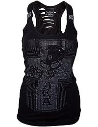 Alchemy Gothic Alchemist Skull & Rose Slashed Back Sleeveless Vest Top (MEDIUM)