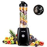 Aicok Standmixer, Smoothie Mixer, Smoothie Maker To Go 300 Watt, 600ml Tritan Trinkflasche BPA Frei, Schwarz