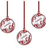 3 er Set Weihnachtskugeln (20 cm) mit Ihrem Wunsch-Namen, Farbe rot, Weihnachts-Deko, name personalisierbar, Wunsch-Namen, alle Namen, Weihnachtskugeln Fenster und Wand Aufkleber Wand Windows-Art, ThatVinylPlace Wandtattoo,