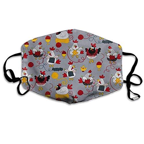 itruty Red Chickens Grey,Mund Maske Breathable Dust Filter Maske Mouth Cover Maske with Elastic Ear Loop Fashion Outdoor Mund Maske with Design Chicken Loop