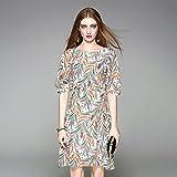 Xuanku Seidenkleid, Im Frühling Und Sommer Damen Kleid, Europa Und Amerika Platzen Modell Damenmode Gedruckten Seide Lady Kleid,44