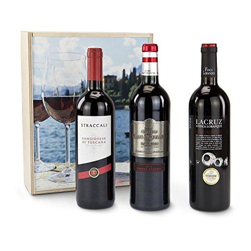 """Das exquisite Rotwein-Geschenkset """"Mediterrane Weinreise Italien, Frankreich,Spanien"""""""