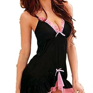 Amlaiworld Donna vestito da notte,Babydoll Chemise Dress sapore intimo indumento da notte Dress + Thongs