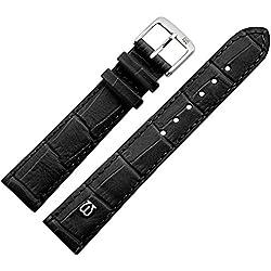 Uhrenarmband 18mm Leder schwarz matt Prägung, Alligator - MADE IN GERMANY - Uhrband mit Marburger Logo, in matter Farbe & Alligatoroptik - Marburger Uhrenarmbänder seit 1945 - matt schwarz / silber