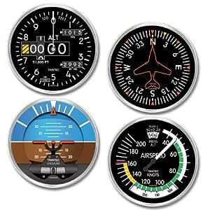 Trintec NV 20 Series 4-Piece Round Acrylic Instrument Coaster Set Altimeter, Gyro, Horizon and Airspeed Coasters by Trintec