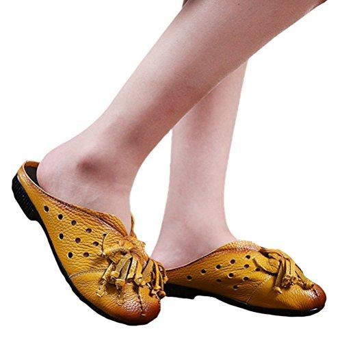 Damen H枚hlen Gelb Vogstyle Heraus Art Leder Strand Pantoffeln Sandalen Flache 5 nfwqRFWw