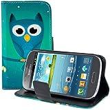 kwmobile Wallet Case Kunstlederhülle für Samsung Galaxy Express - Cover Flip Tasche in Eule Nacht Design mit Kartenfach und Ständerfunktion in Blau Türkis