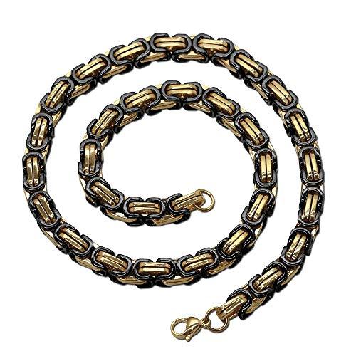 Halskette Herren Edelstahlkette Panzerkette Königskette Schwarz Gold Herrenschmuck, Länge:50 cm