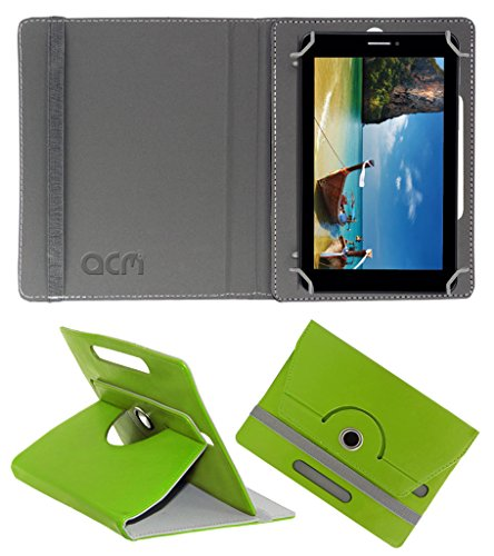 Acm Rotating 360° Leather Flip Case for Iball Slide 7236 2g Cover Stand Green  available at amazon for Rs.149