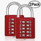 MIONI Guard Security Security 10 cifre a combinazione lucchetto a combinazione, meccanismo di blocco a 5 cifre, (rosso, 2 pezzi)