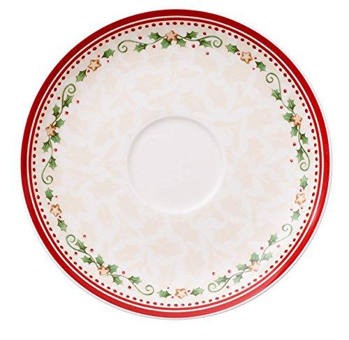 Villeroy & boch winter bakery delight piattino tazza colazione, 18 cm, porcellana, bianco/rosso, 18x18x0.1 cm