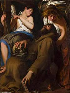 Peinture à l'huile - 15 x 20 inches / 38 x 51 CM - Giovanni Baglione - L Extase de saint François...