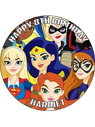 DC Super Hero Girls 75 Round personalised birthday cake topper