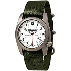 Bertucci A-2T Men's Watch - Titanium - Olive Nylon Strap - White Dial - 12121