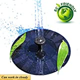 Bomba de Agua Solar - 2018 Actualizado Puede Trabajar en un Día Nublado - Fuente solar 1.4W Adecuado Para Panel Solar Fuentes para Estanques de Jardín, Riego Sumergible, Decoración de Jardín, Baño de Aves (Negro)