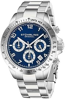 Stuhrling Original Mens Reloj Cronógrafo de Cuarzo Azul Reloj de Pulsera Deportivo con Taquímetro y Brazalete de Enlaces de Acero Inoxidable Sólido Cierre Desplegable Colección de Reloj de Diseñador