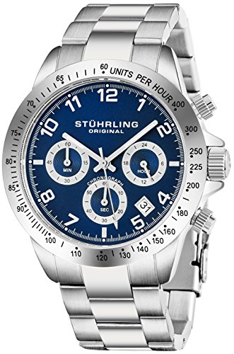 Stuhrling-Original-Mens-Quartz-Chronograph-Watch-Blue-Dial-Date-Tachymeter-Sport-Wrist-Watch-Solid-Stainless-Steel-Link-Bracelet-Deployant-Clasp-50-Meter-Water-Resistant-Designer-Watch-Collection