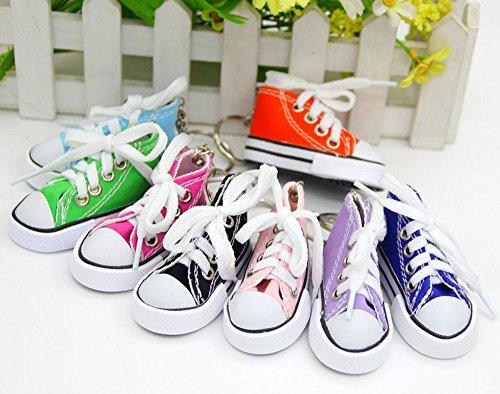 Preisvergleich Produktbild 6 Stück Schlüsselanhänger Schuh Schuhe 12 cm STAR-LINE® Mit einem echtem Schnürsenkel Schlüssel-Anhänger Schuhe