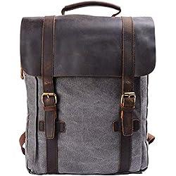 Mochilas tipo casual / Mochila Vintage de Lona y Cuero / Bolso Casual para Viajes / Bolsa de Escuela / Unisex mochila de a diario / Portátil Bolsa - adecuada para 15' cuaderno