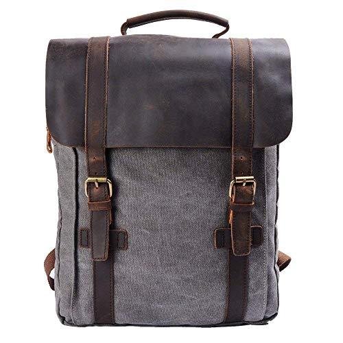 Y-DOUBLE Vintage Tela Zaino Esterni Viaggi Zaino Scuola Borsa a Tracolla Zaino in Pelle Tela Vera Pelle fit iPad e 15' Laptop Backpack per Uomo e donna