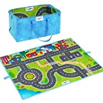 Play anywhere with this lively 38.5 x 35 city play mat! Mat folds into a convenient storage tote and contains two sturdy 5 cars. Perfect for toddlers ages 1 and up.;The thick vinyl mat is easy to wipe clean. The colorful play surface is patterned wit...