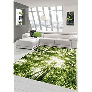 Traum Designer und Moderner Teppich Kurzflor Wohnzimmer Teppich Wald in Grün Weiss Größe 120x170 cm