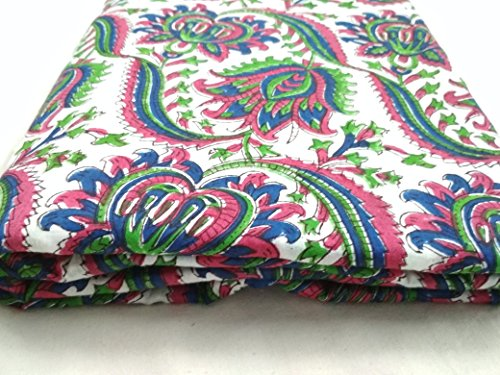 HANDICRAFTOFPINKCITY Damast mit Rollen, 10-Multi-Gewebe, BUTIK Muster zum Färben Multi Color Jaipuri, Vintage, Stoff
