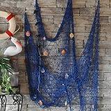 Dngdom Dekoration Fischnetz mit Muscheln Maritime Deko150cm*200cm (Blau)