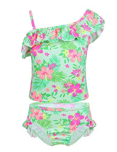 YiZYiF Mädchen Tankini Bikini Badeanzug Blumen Muster Top mit Slip Badeshorts Badekleidung Set Gr. 86-92 98-104 110-116 122-128 134-140 (122-128/7-8 Jahre, P Hell Grün)