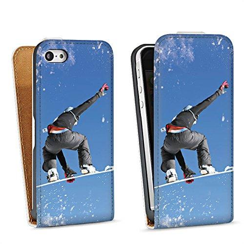 Apple iPhone 5s Housse Étui Protection Coque Snowboard Saut Sport d'hiver Sac Downflip blanc