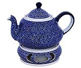Original Bunzlauer Keramik Teekanne 1,5 Liter mit integriertem Sieb und Stövchen im retro Dekor 120