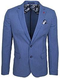 Giacca Blazer Uomo Sartoriale Blu Chiaro in Micro Fantasia Slim Fit Elegante  Formale Cerimonia d3fcc22889f