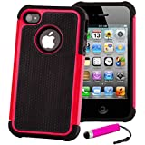 Shock proof case cover for iPhone 4 4S + FREE screen protector, cleaning cloth and touch stylus - Hot Pink