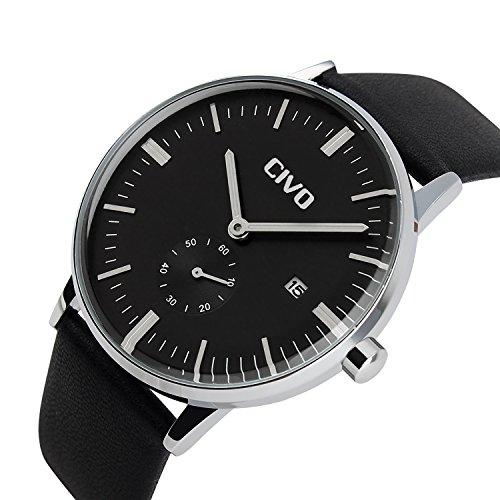 CIVO-Mens-Simple-Design-Black-Leather-Band-Wrist-Watch-Mens-Classic-Fashion-Dress-Analogue-Quartz-Wrist-Watches-30m-Waterproof-Luxury-Business-Casual-Wristwatch-Black-Sub-Dial-and-Date-Calendar