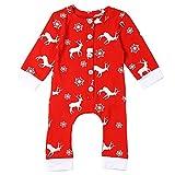 ephex Baby Weihnachten Strampelanzug kostüm lange Ärmel Hirsch Strampler Weihnachtskostüm Unisex Kleinkinder Jumpsuits rot red 0-3 Monate