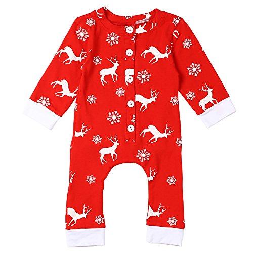 ephex Unisex Neugeborenes Baby Strick Strampler Lange Ärmel Watte Weihnachten warme Pullover babybody mit Aufdruck 6-9 Monate