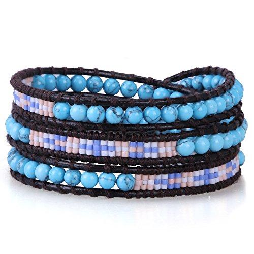 KELITCH Wickelarmband Armband Frauen Herren Synthetisch Türkis Mischen Saat Perlen - Schwarz Leder 5 Wraps Armbänder Knoten Schließe - Armband Leder Und Perlen-wrap