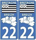 Autocollant plaque immatriculation pour Auto Carte Bretagne département / 22 Côtes D'Armor