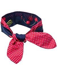 SETRINO® Halstuch Nickituch Bandana Haarband Rockabilly Retro Look rote Kirschen auf Blau