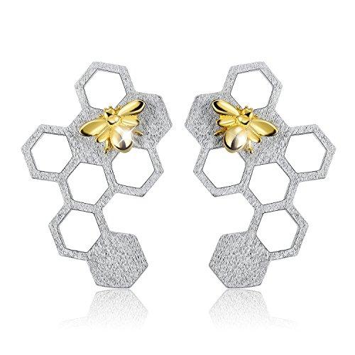 Lotus Fun S925 Sterling Silber Damen Ohrringe Biene und Honigwabe Ohrringe Ohrstecker Schmuck,Handgemachte Einzigartige Schmuck