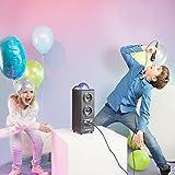 auna DiscoStar Blue PA-Anlage Bluetooth-Lautsprecher (Lichteffekte, Fernbedienung, Tragegriffe, Akku-Betrieb, Radio, MP3, SD, AUX, 1 Mikrofon) schwarz - 2