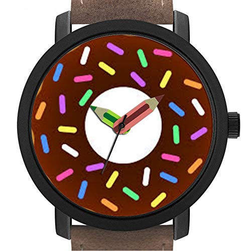 Geschenk für Erwachsene | Kinder | Geburtstag | Stilvolle niedliche Armbanduhr mit Bleistift Form Pointer Ornament Geschenk 378.Snack Time Chocolate Sprinkles Pink Donut Watch