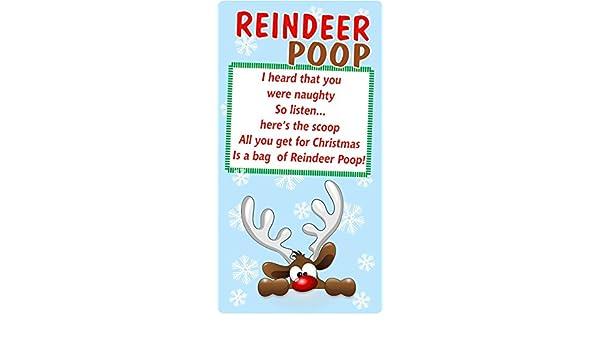 Christmas Poem Reindeer Poopsticker Label Business Xmas Fun