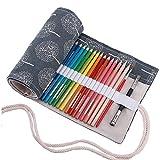 Amoyie Leinwand Stifterolle für 72 Buntstifte und Bleistifte, Hand Roll-up Federmäppchen, Aufbewahrungstasche für Künstler, Verpackung Mehrzwecktasche für Reisen / Schule / Büro / Kunst (keine Schreibzeuge im Lieferumfang)