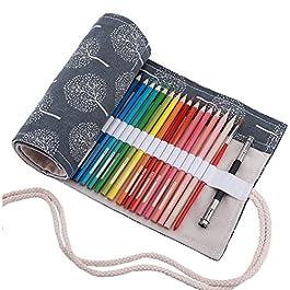 Amoyie – Sacchetto della matita portamatite arrorolabile per 36 48 72 matite colorate porta penne tela wrap borse organizer astuccio portapenne scuola cassa del supporto di matita viaggio le foglie36