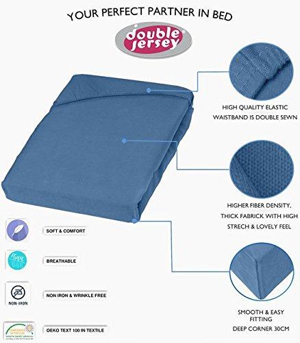 Double Jersey - Spannbettlaken 100% Baumwolle Jersey-Stretch bettlaken, Ultra Weich und Bügelfrei mit bis zu 30cm Stehghöhe, 160x200x30 Jeans Blau - 3