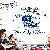 Grandora Wandtattoo Piratenschiff Anker + Wunschname I dunkelblau (BxH) 79 x 47 cm I Schiff Kinderzimmer Sticker Aufkleber Wandsticker Wandaufkleber Pirat W5505